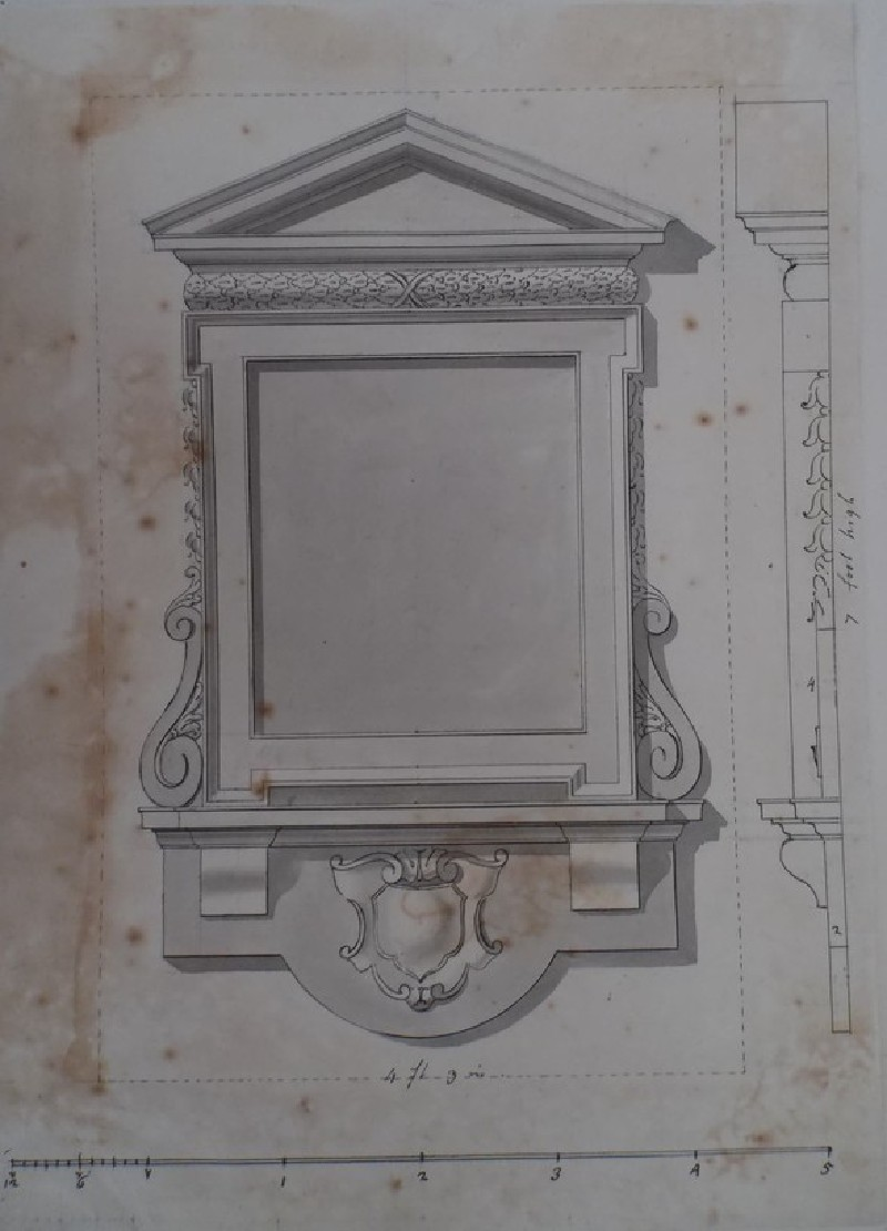 Early design for the monument for 'Mr. Wanley the Librarian of the Earl of Oxford' (WA1925.342.117, record shot)