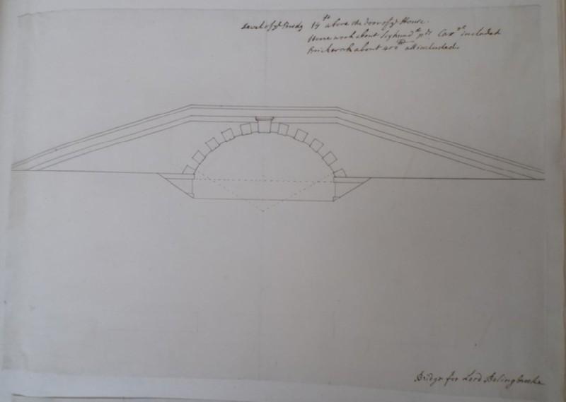 Drawing of a small bridge, perhaps at Dawley, Middlesex (WA1925.342.124, record shot)