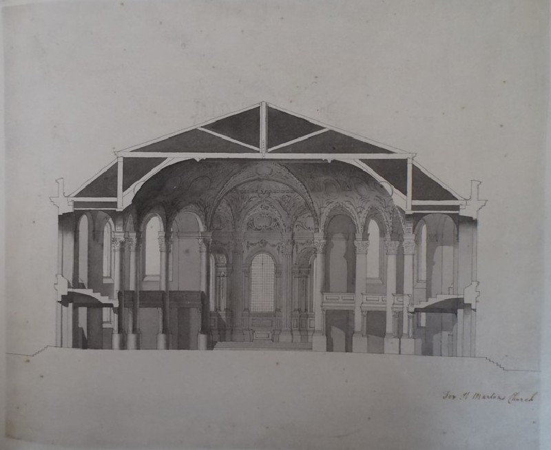 Design of the cross section of a church (WA1925.342.130, record shot)