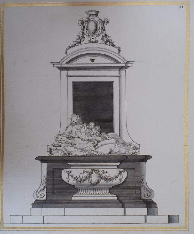 Design for a Monument to a Viscount, his Wife and Child (Black and White Marble) (WA1925.342.156, record shot)