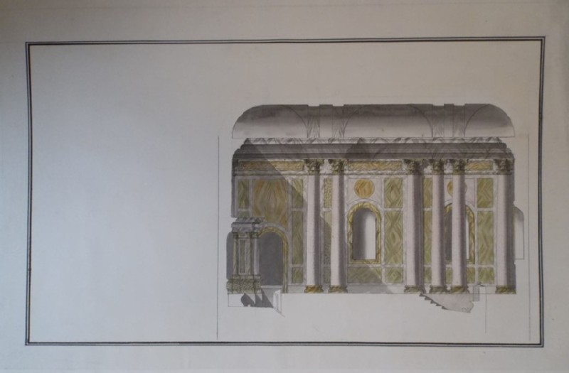 Drawing of the section of the bath of Augustus in Rome (WA1925.342.215, record shot)
