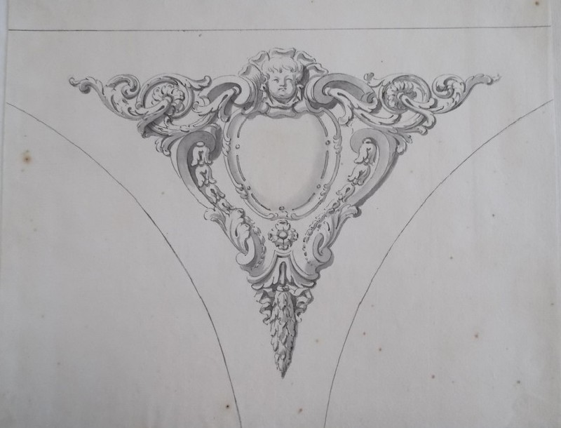 Design of the ornament in the spandrels of the Radcliffe Library (WA1925.342.42, record shot)