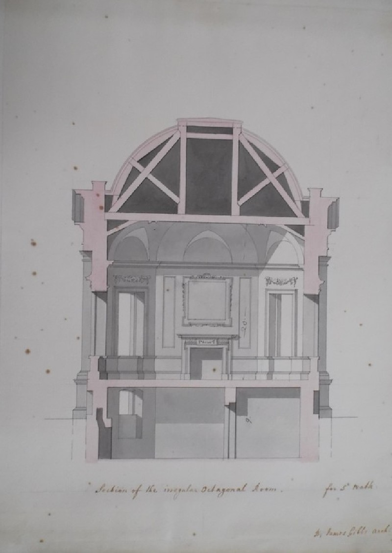 Design of a plan for an octagonal room for Sir Watkins Williams Wynn for the estate of Wynnstay, Wales (WA1925.342.52, record shot)