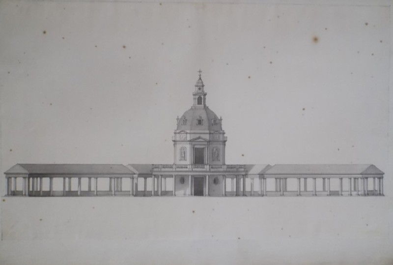 Design of the façade of a monumental pavilion and semicircular (WA1925.342.67, record shot)