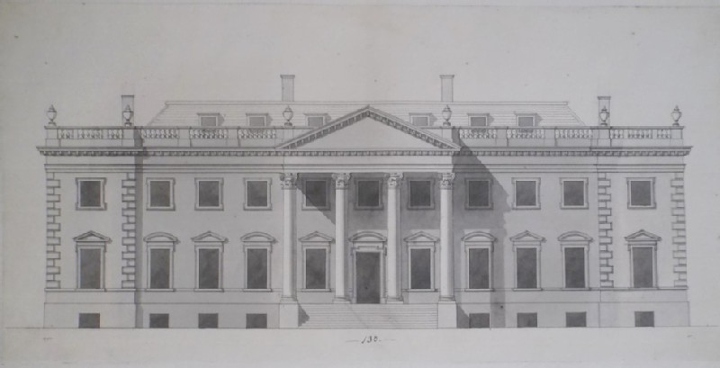 Design of the section of a country house with a flat Mansard roof and portico (WA1925.342.75, record shot)