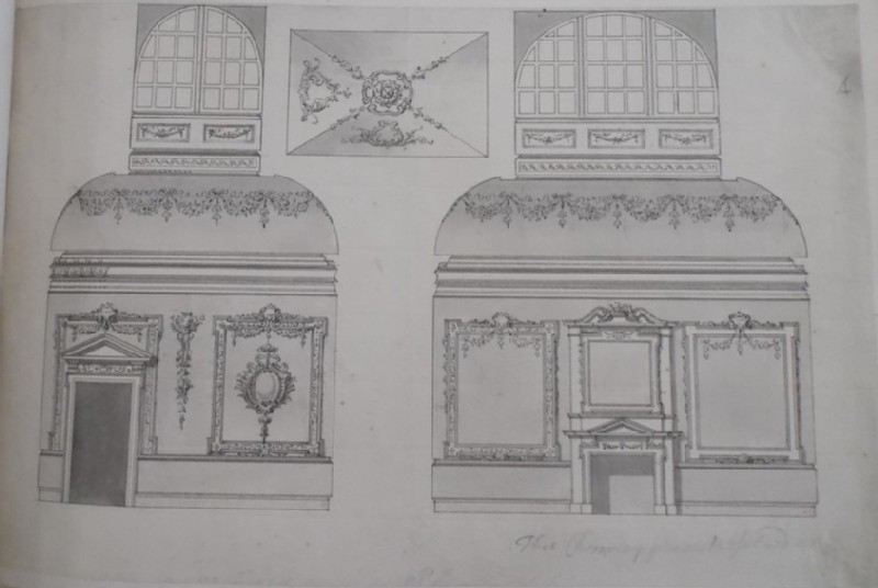 Design for the decorations of a small room lighted by a cupola, perhaps for the house at 16 Arlington Street, London (WA1925.342.77, record shot)