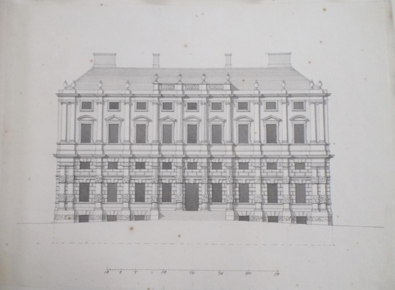 Design of the façade of a country house with a rusticated basement and superimposed orders (WA1925.342.83, record shot)