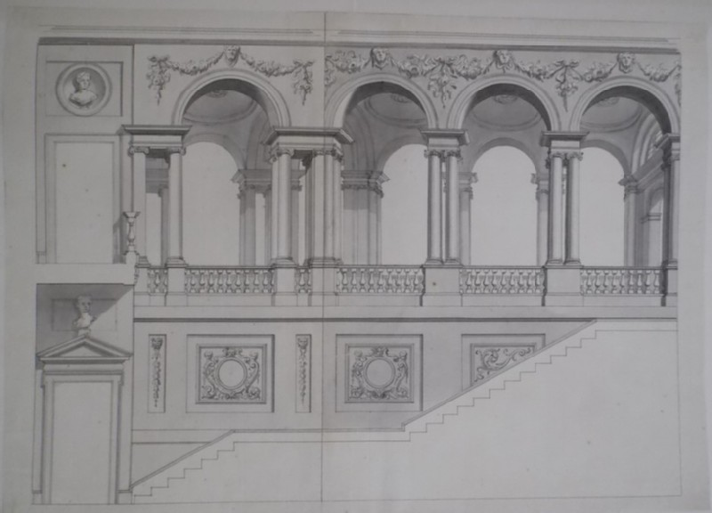 Design of the decorations of a monumental stair and colonnade (WA1925.342.87, record shot)