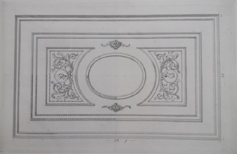 Recto: design of the fret-work of the ceiling of a rectangular room <br />Verso: preparatory sketch of a wall (WA1925.342.90, record shot)