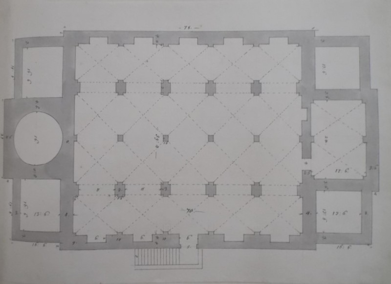 Drawing of the plan of the basement of a church (WA1925.342.94, record shot)