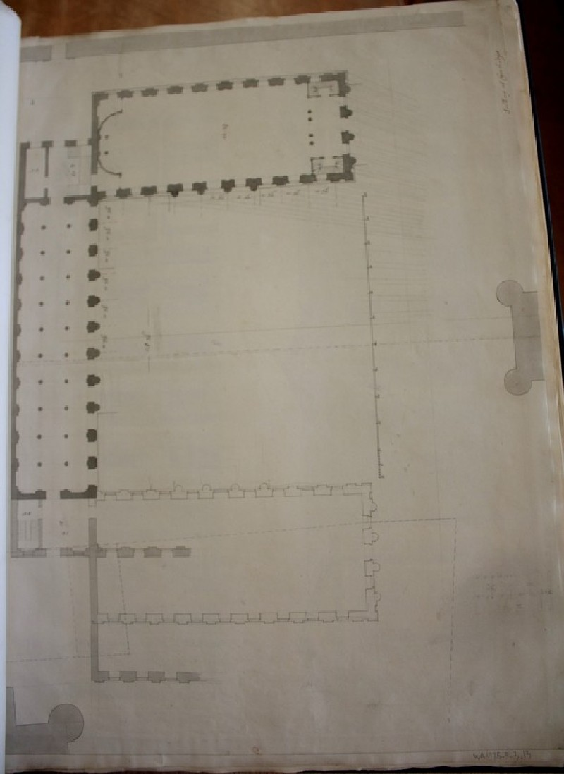 Recto: Design of a plan inscribed by Gibbs, 'Building for Cambridge' <br />Verso: Two sketches of an upright of a building, possibly