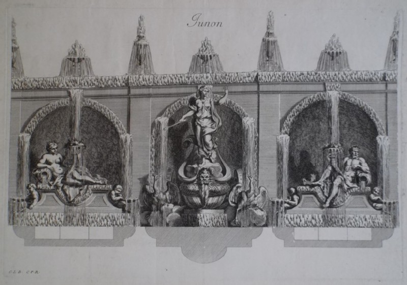 Design for a wall fountain showing Juno, from the series 'Recueil de fontaines et de frises maritimes'