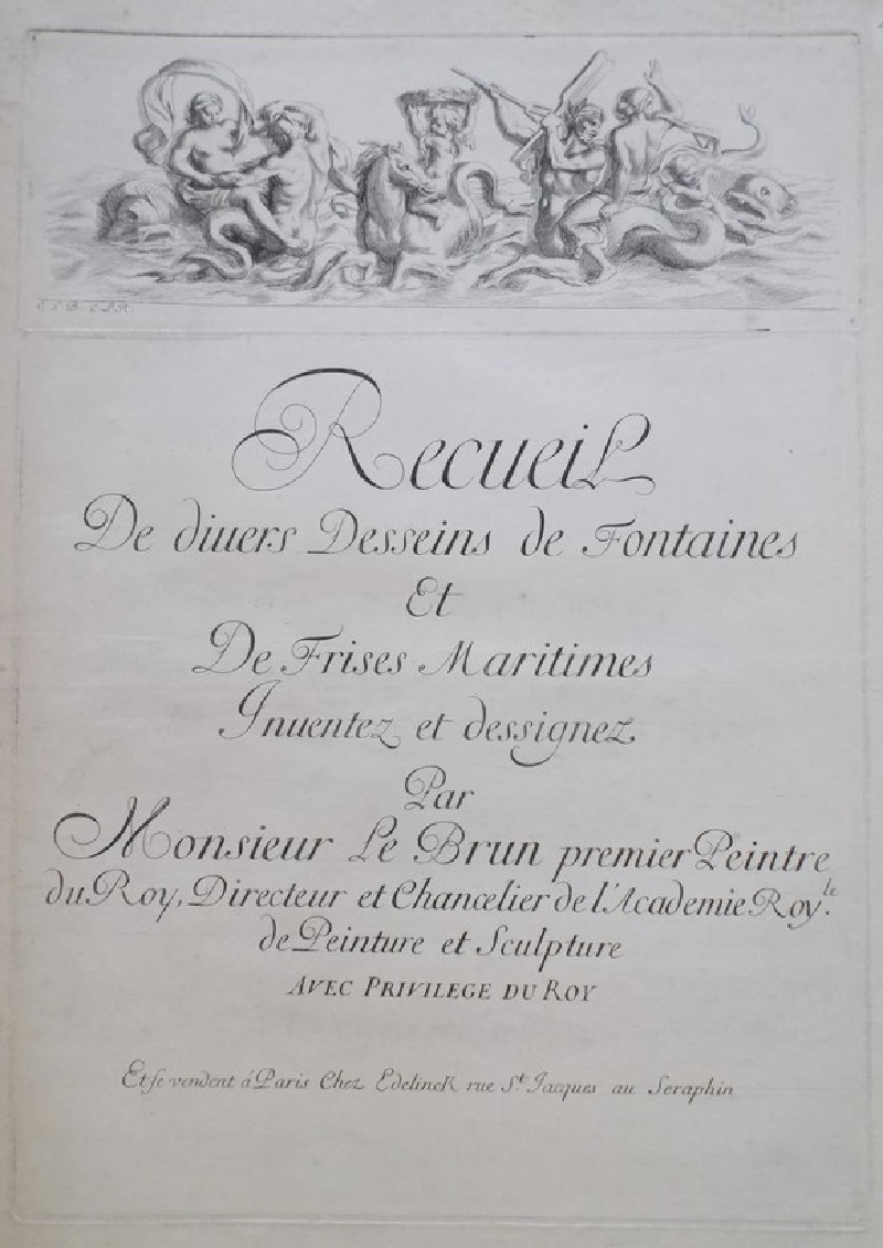 Title page from the series 'Recueil de fontaines et de frises maritimes', maritime mythological scene with tritons and deities printed from a separate plate at top