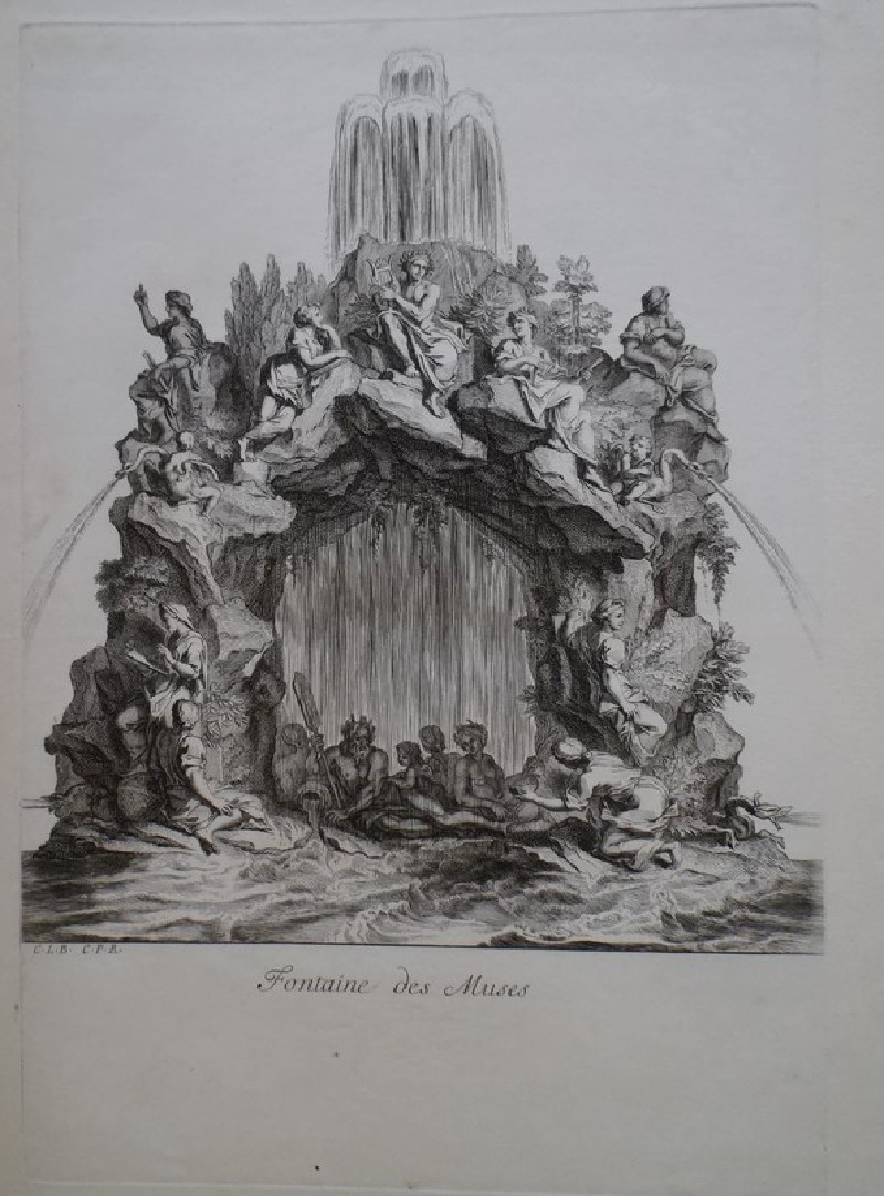 Design for a fountain showing the Muses, from the series 'Recueil de fontaines et de frises maritimes' (WA1925.344.11, record shot)