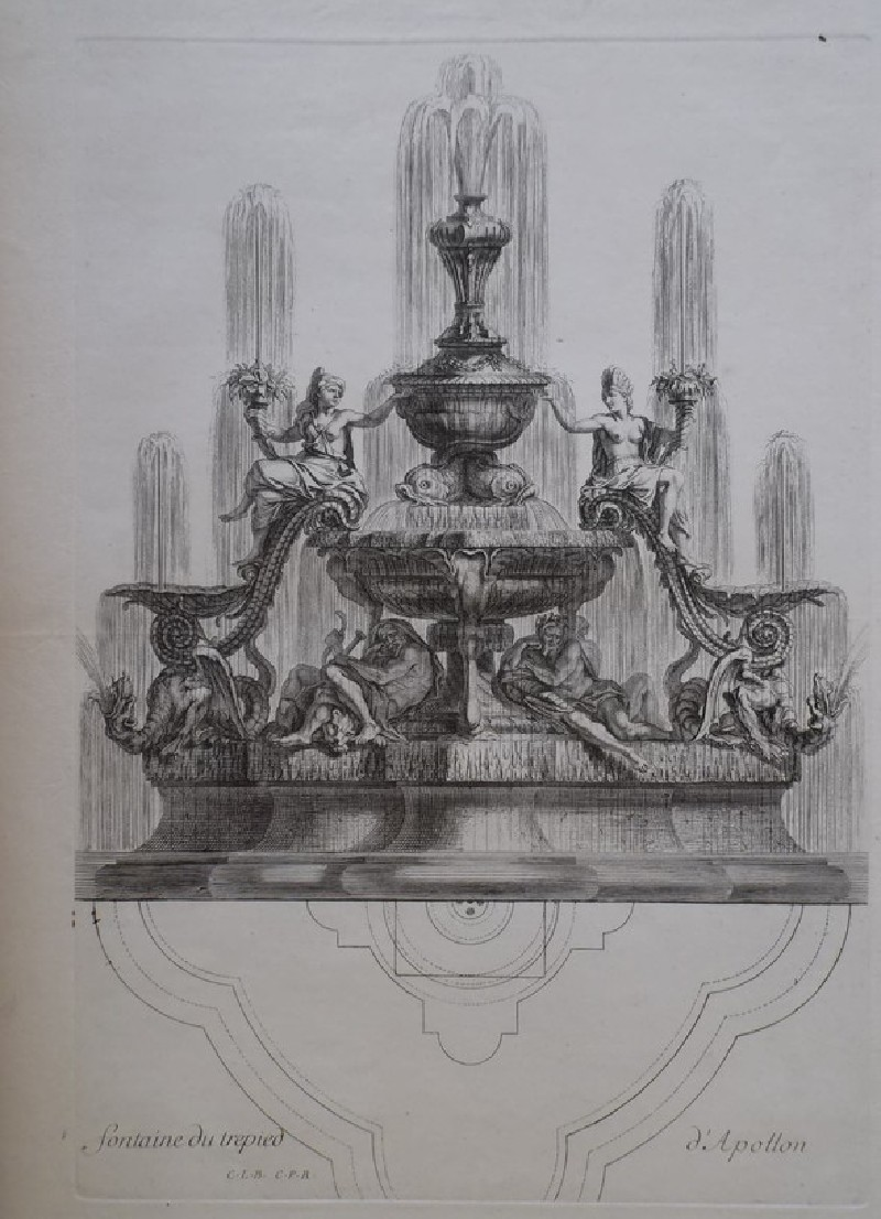 Design for a fountain showing deities, from the series 'Recueil de fontaines et de frises maritimes' (WA1925.344.14, record shot)
