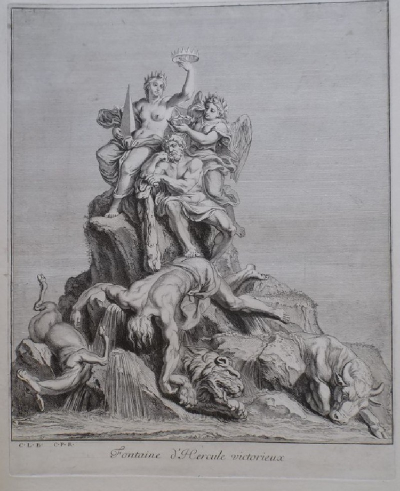 Design for a fountain showing Hercules victorious, from the series 'Recueil de fontaines et de frises maritimes'