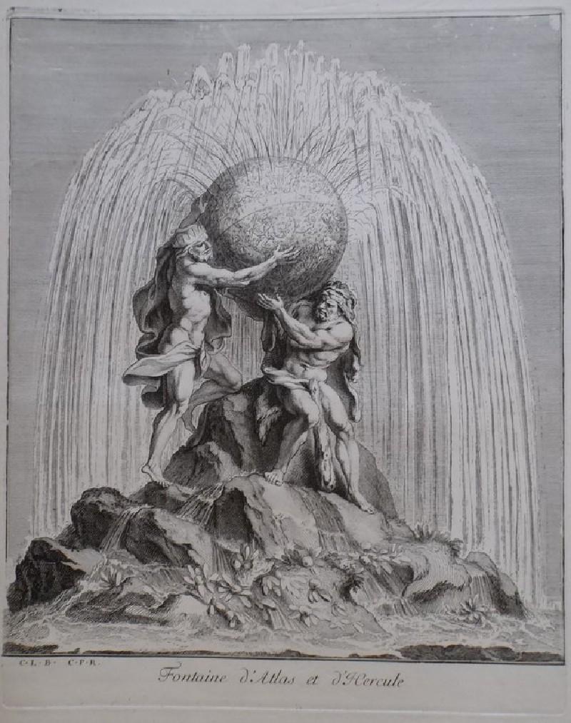 Design for a fountain showing Hercules and Atlas, from the series 'Recueil de fontaines et de frises maritimes'