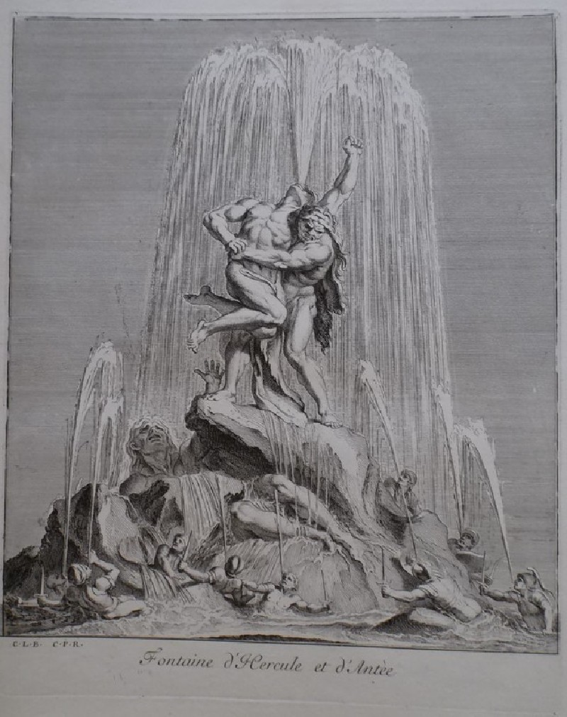 Design for a fountain showing Hercules and Antaeus, from the series 'Recueil de fontaines et de frises maritimes'