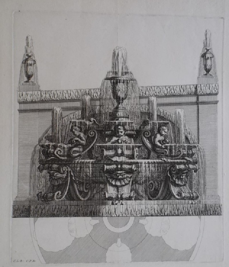 Design for a wall fountain with three putti, after Charles Le Brun, from the series 'Recueil de fontaines et de frises maritimes'