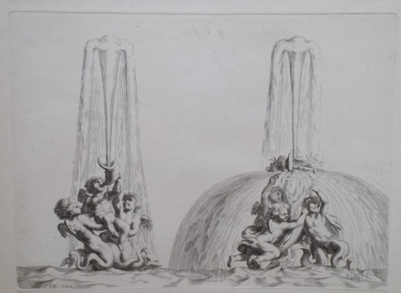 Design for a fountain with two groups of putti and tritons, from the series 'Recueil de fontaines et de frises maritimes'
