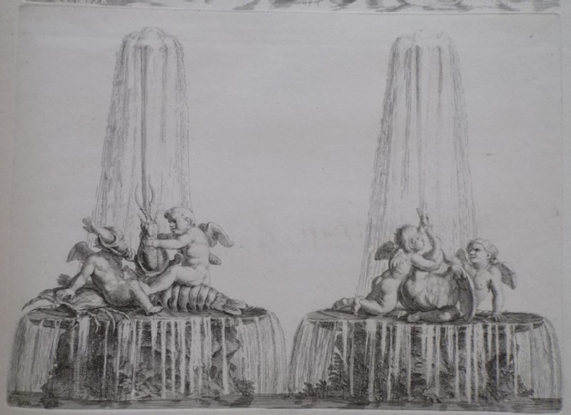 Design for a fountain with two groups of putti, from the series 'Recueil de fontaines et de frises maritimes' (WA1925.344.24, record shot)