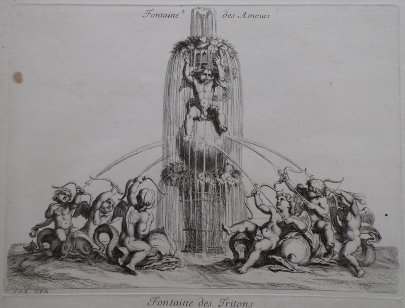 Design for a fountain showing amorini, from the series 'Recueil de fontaines et de frises maritimes'