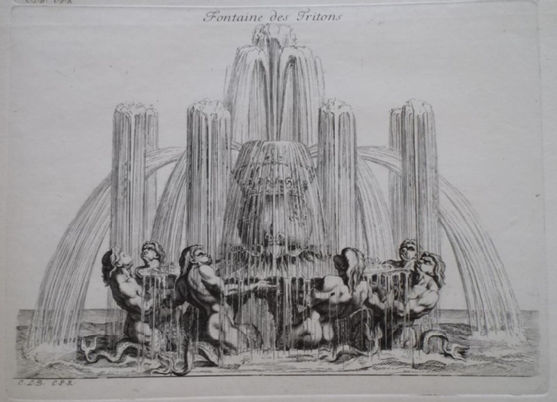 Design for a fountain showing tritons, from the series 'Recueil de fontaines et de frises maritimes' (WA1925.344.26, record shot)
