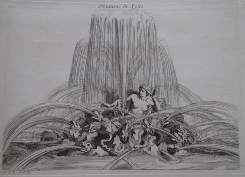 Design for a fountain showing Scylla, from the series 'Recueil de fontaines et de frises maritimes' (WA1925.344.28, record shot)