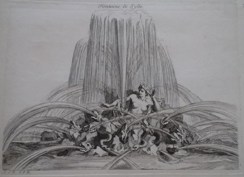 Design for a fountain showing Scylla, from the series 'Recueil de fontaines et de frises maritimes'