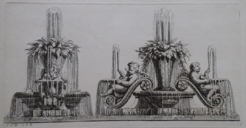 Design for a fountain showing two groups of putti, from the series 'Recueil de fontaines et de frises maritimes'