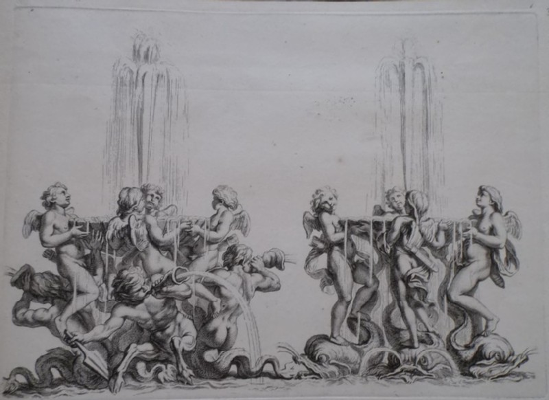Design for a fountain showing two groups of putti and maritime deities, from the series 'Recueil de fontaines et de frises maritimes' (WA1925.344.30, record shot)