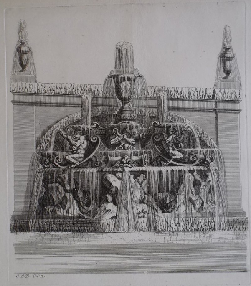 Design for a wall fountain with three putti, from the series 'Recueil de fontaines et de frises maritimes'