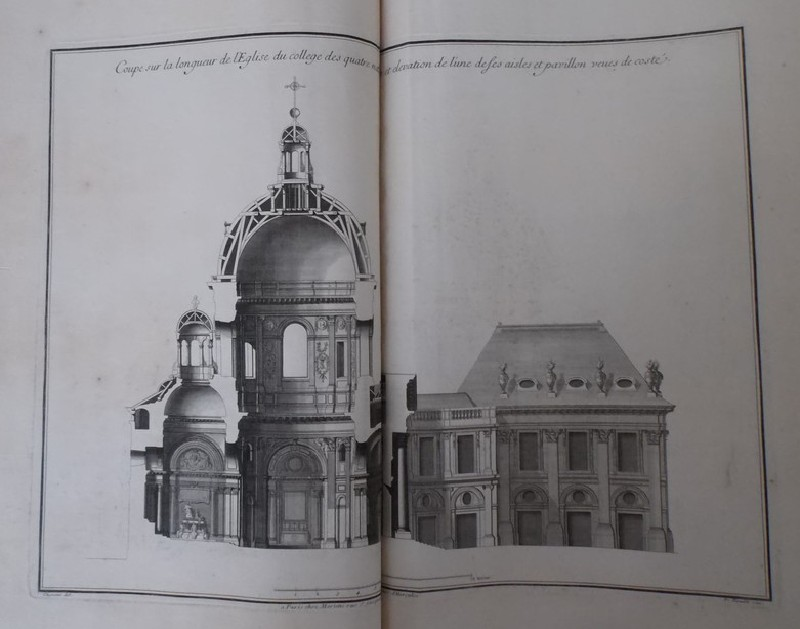 Longitudinal section of the church in the Collège des Quatre-Nations, elevation of a wing and of the pavilion (WA1925.345.14, record shot)