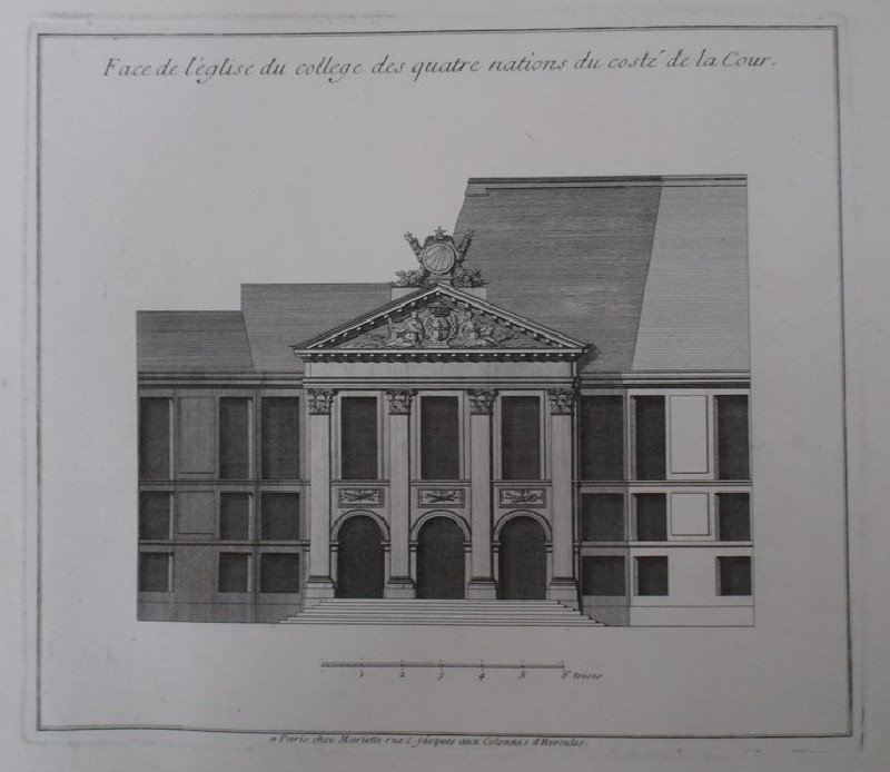 Facade of the church of the Collège des Nations with the courtyard