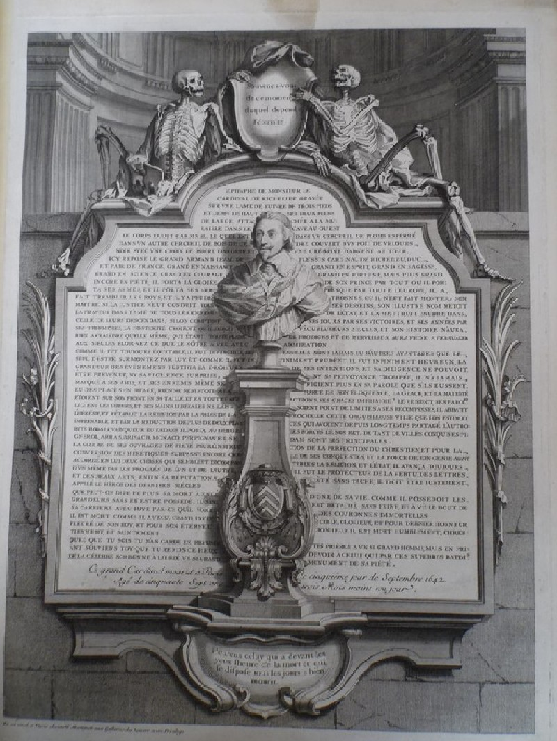 Epitaph in memory of the Cardinal Richelieu