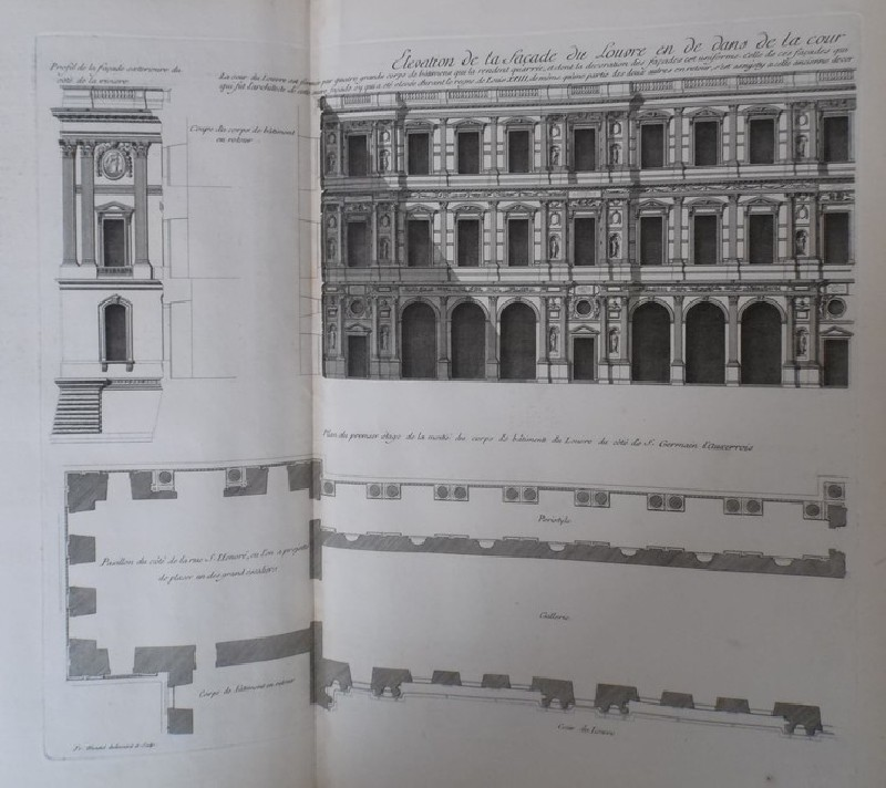 Façade of the Louvre from St Germain l'Auxerrois side, and plan of the first floor