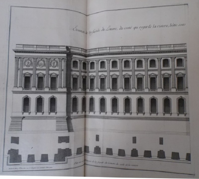 Façade of the Louvre from the side facing the river, and a plan of the ground floor (WA1925.345.23, record shot)