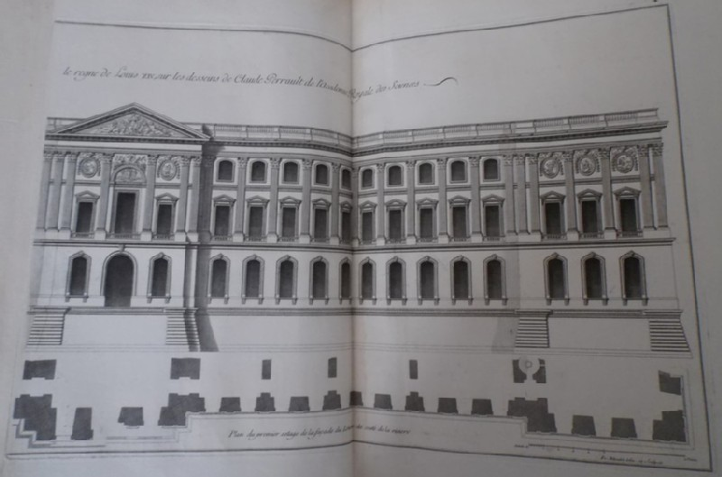 Façade of the Louvre from the side facing the river, and a plan of the ground and first floor (WA1925.345.24, record shot)