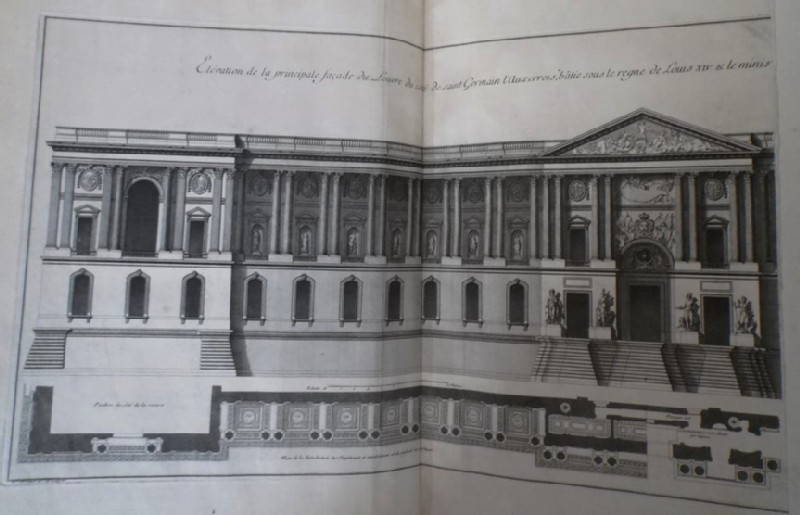Façade of the Louvre from the side of Saint Germain l'Auxerrois, and a plan of the colonnade