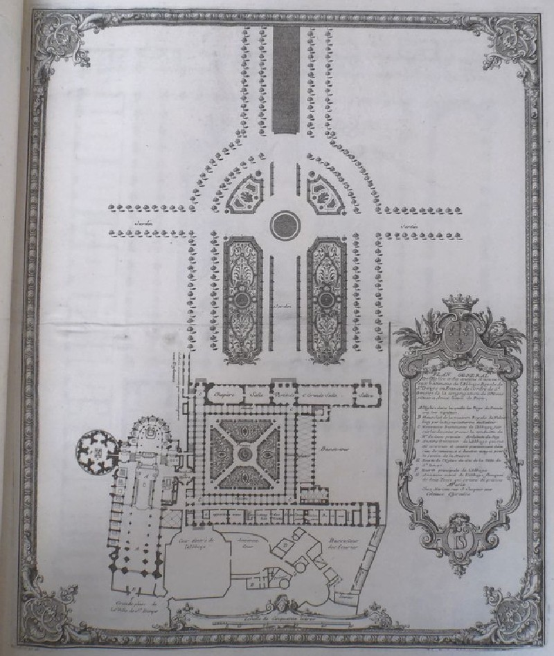 General plan of the church and of the old and new buildings of the Abbaye Royale of St Denis (WA1925.345.31, record shot)