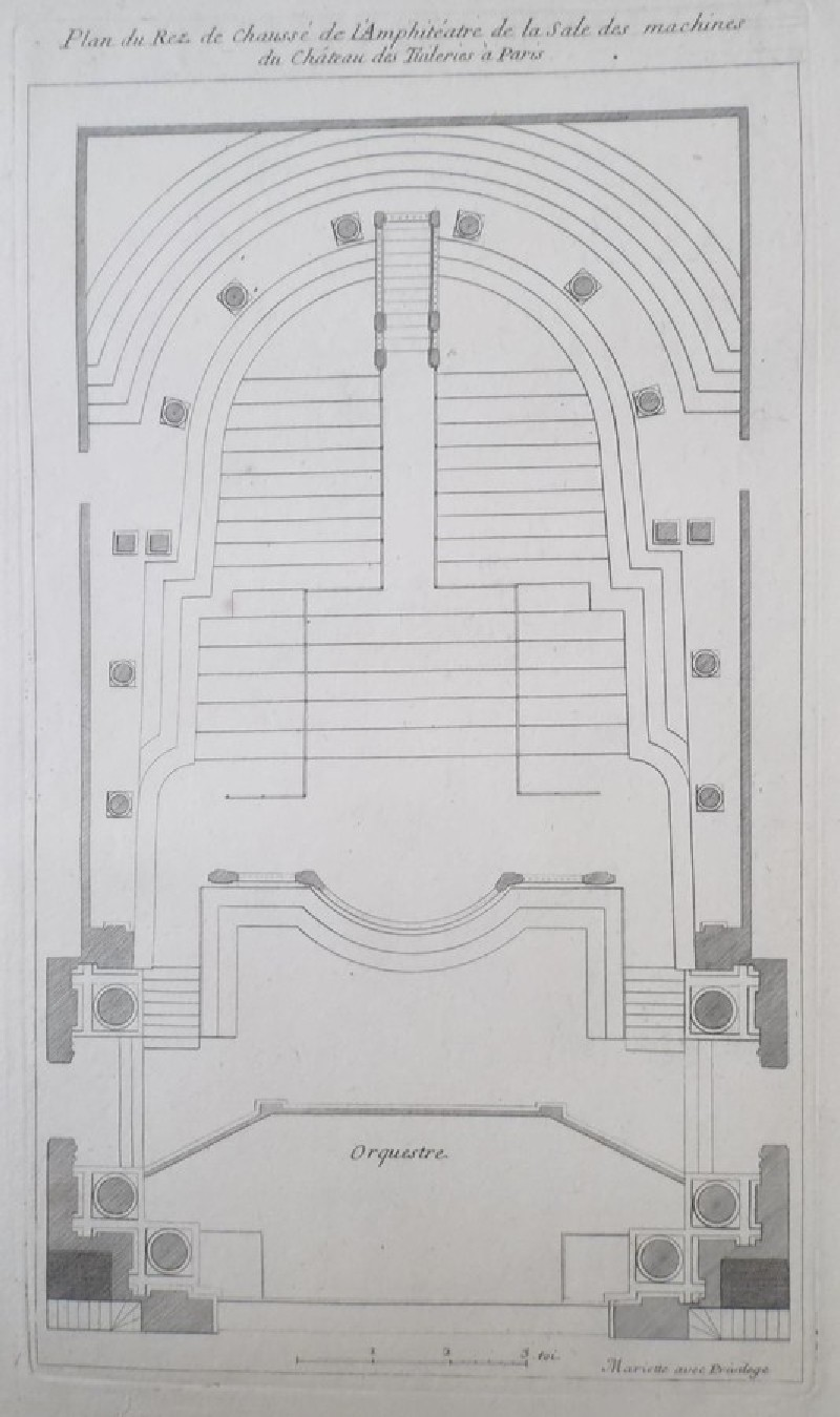 Plan of the ground floor of the amphiteatre in the Theatre at Les Tuileries