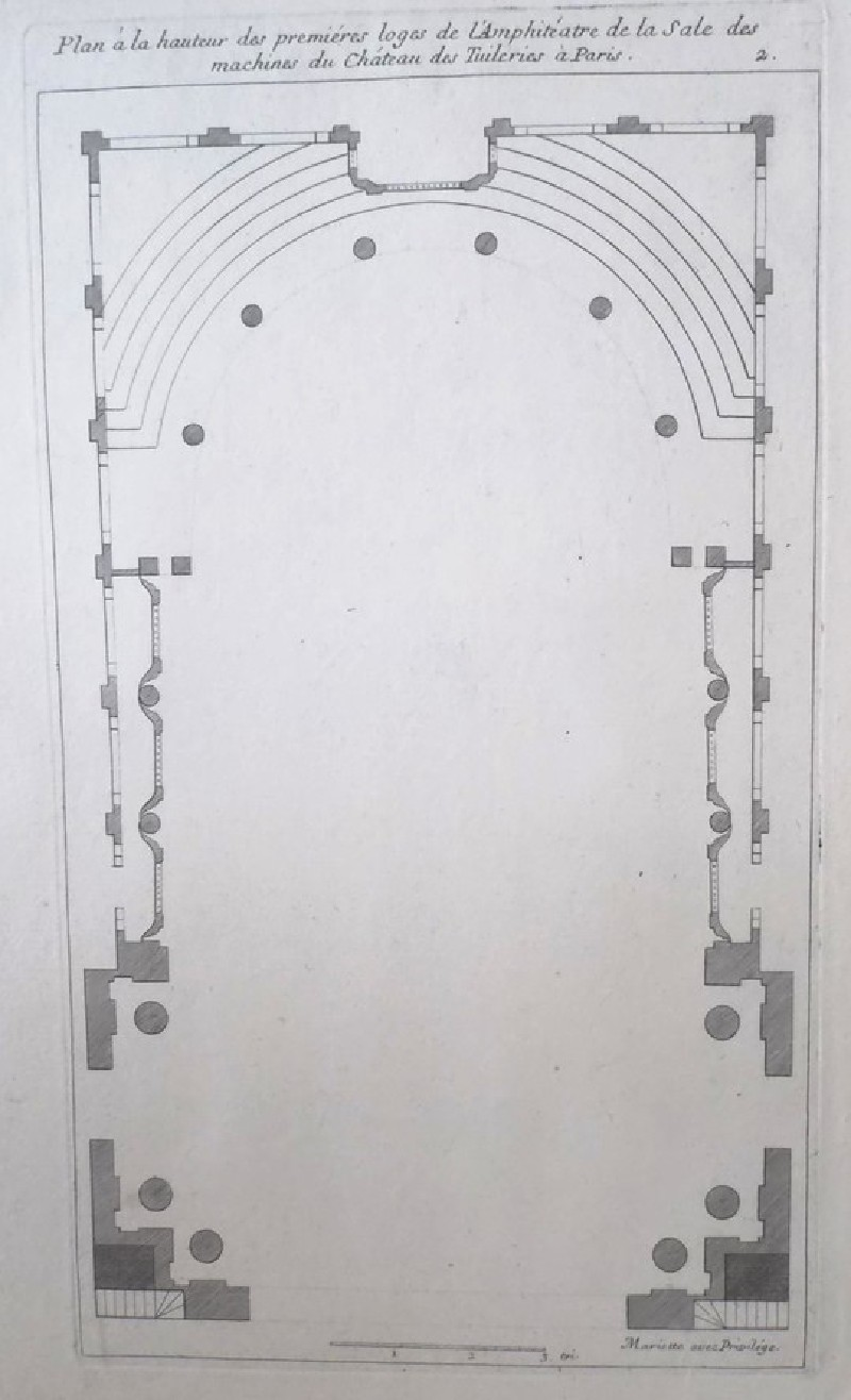 Plan of the first tier of boxes of the amphiteatre in the Theatre at Les Tuileries