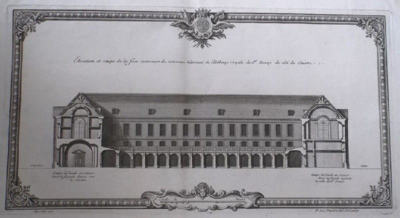 Upright and section of the inside facade of the new buildings of the Abbaye Royale of St Denis