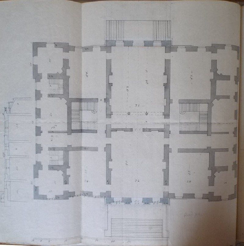 Design of the plan of the first floor of the new building of Hamstead Marshall, the seat of Lord Craven (WA1925.346.13, record shot)