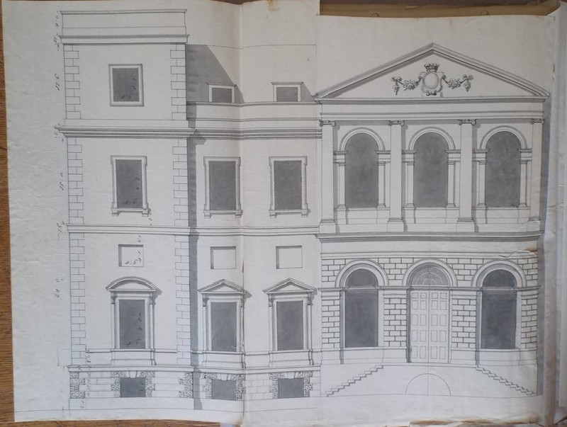 Recto: Design of an alternate draft of the upright for the main facade of the new building of Hamstead Marshall <br />Verso: Sketch of a wall