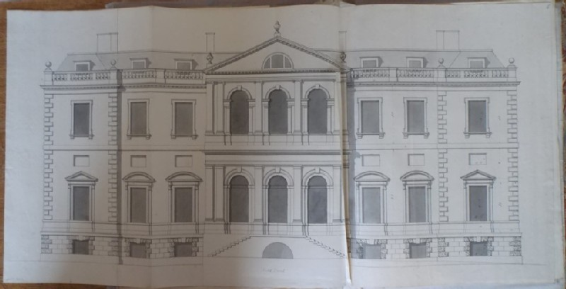 Recto: Design of the upright of the south facade of the new building of Hamstead Marshall <br />Verso: Design of the end of a building