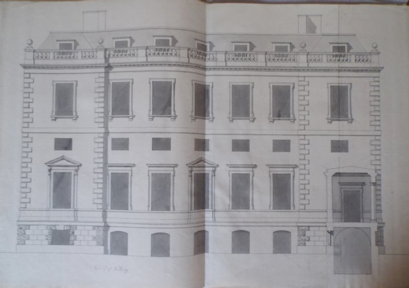 Recto: Design of the upright of the end of the house for the new building of Hamstead Marshall <br />Verso: Design of a part of a facade (WA1925.346.17, record shot)