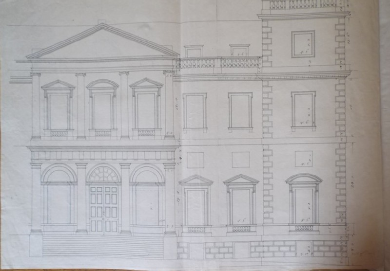 Drawing of an alternate draft of the upright for the main facade of the new building of Hamstead Marshall, the seat of Lord Craven (WA1925.346.18, record shot)