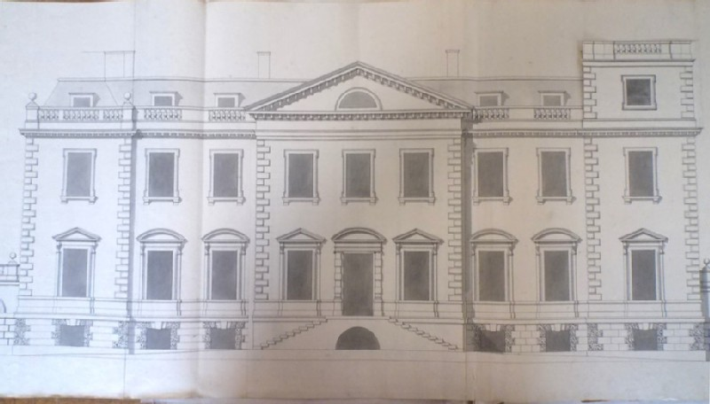 Recto: Design of the facade of the house fronting on the court of the new building of Hamstead Marshall <br />Verso: Design of a facade of a building