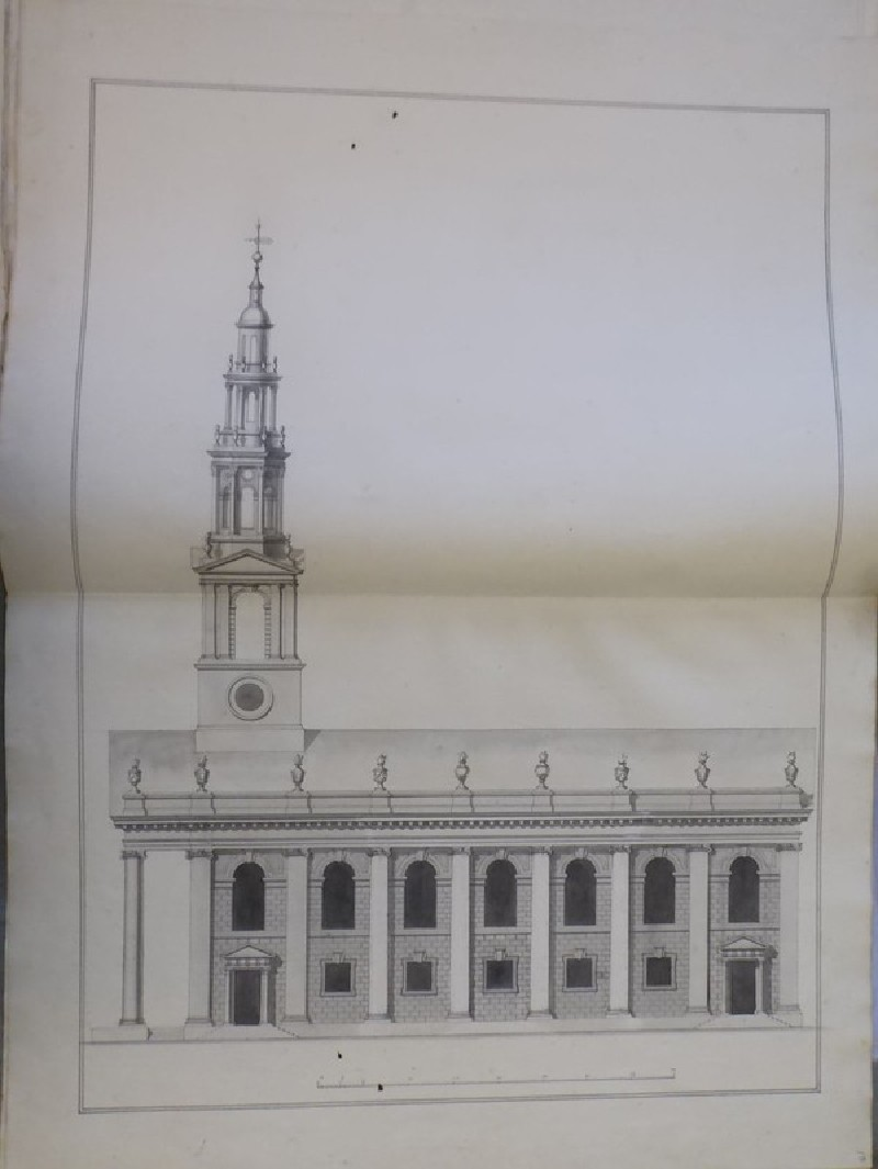 Design for the elevation of the south side of an alternative design for the church of St Martin-in-the-Fields (WA1925.348.10, record shot)